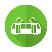 picture of tram  - tram green flat icon public transport sign - JPG