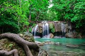 stock photo of waterfalls  - Erawan waterfall is a waterfall in one of Kanchanaburi province is a beautiful waterfall on the River Kwai Yai - JPG