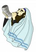 pic of divine mercy  - jewish man wearing prayer shawl blows the traditional shofar - JPG