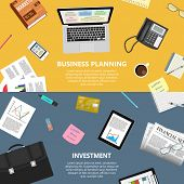 picture of e-business  - Modern flat design business planning and investment concept  for e - JPG