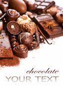 image of white-milk  - Chocolates border isolated on white background - JPG