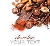 pic of white-milk  - Chocolates border isolated on white background - JPG