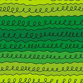 image of quirk  - seamless pattern curls line on a green background - JPG