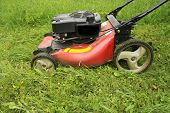 stock photo of grass-cutter  - lawn mower cutting grass in the darden - JPG