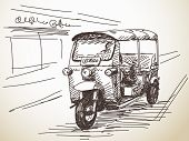 pic of rickshaw  - Hand drawn motorcycle rickshaw taxi Vector illustration - JPG