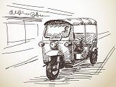 pic of rickshaw  - Hand drawn motorcycle rickshaw taxi Vector illustration - JPG