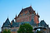 stock photo of chateau  - Chateau Frontenac at dusk in Quebec City - JPG