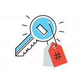 foto of hashtag  - Thin line icon with flat design element of keywords for SEO popular content internet hashtag market promotion social trend digital marketing - JPG