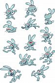 collection of fun blue cartoon rabbits