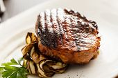 picture of aubergines  - steak with grilled aubergines - JPG