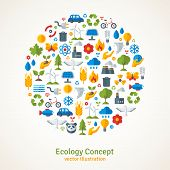 stock photo of save water  - Ecology flat icons arranged in circle - JPG