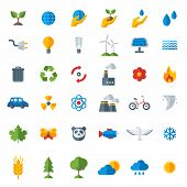 pic of wind energy  - Ecology flat icons set isolated on white - JPG