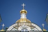 pic of nicholas  - Fragment of St. Nicholas Naval Cathedral St. Petersburg at sunny day Russia.