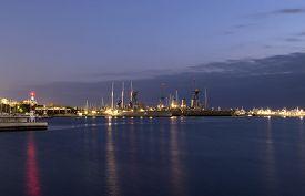 picture of battleship  - Battleship in harbor at night in Athens - JPG