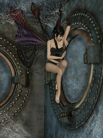 foto of steampunk  - steampunk cage with a dark angel and spider - JPG
