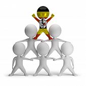 stock photo of human pyramid  - 3d small people standing on each other in the form of a pyramid with the top leader Uganda - JPG