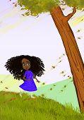 stock photo of fantastic  - African girl painting illustration - JPG