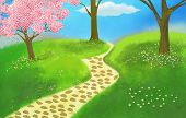 pic of fantastic  - green land painting with fantastic pink tree illustration - JPG
