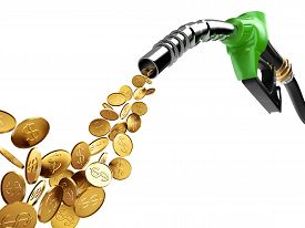 picture of fuel pump  - gold coin with dollar sign pump out from gasoline pump - JPG