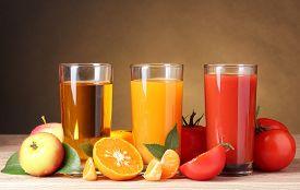 image of orange  - Three glasses of juice - JPG