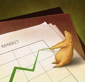 Illustration Of An Irritated Bear Pulling Down A Line Graph (Representing A Bear Market)
