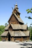 Stavkirke (stave church) located at the folk museum in Oslo, Norway.  The Norwegian Stave Churches a