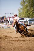 Barrel racing at a small town rodeo in Saskatchean