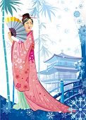 winter japanese girl in traditional kimono
