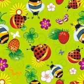Abstract summer floral seamless pattern with butterfly and bee