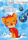 Blue silver winter background with tigress. Christmas and New-Year's greeting card. Vector illustration.