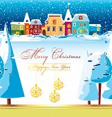 New-Year's winter background with Christmas tree. Greeting sweet postcard with houses and snow. Chri