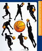 Постер, плакат: Спортивные элементы дизайна для веб сайтов Баскетболистов Векторные иллюстрации спортивной серии