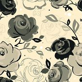 Abstract Elegance seamless floral pattern. Beautiful flower vector illustration texture with rose