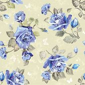 Seamless wallpaper pattern with of blue roses and butterfly, vector illustration