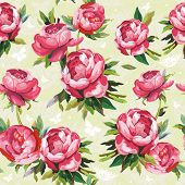 Elegance Seamless color peony pattern on floral background, vector illustration