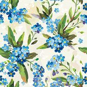 stock photo of forget me not  - Stylish beautiful bright floral seamless pattern - JPG