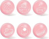 glossy buttons - icon set of sweets
