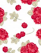 seamless vintage pattern with red roses