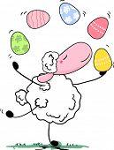 sheep juggling easter eggs
