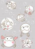 Doodle criaturas do mar