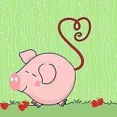 cute pig in strawberry field
