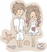 beach wedding set - wedding couple