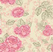 seamless vintage rose pattern