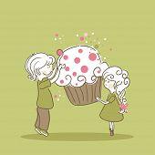 boy and girl with cupcake