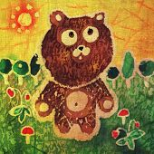 Image of my artwork with a walking teddy bear among mushrooms and berries