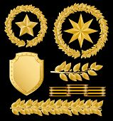 Raster version of vector gold laurels with stars (contain the Clipping Path of all objects)
