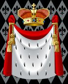 image of ermine  - Raster version of vector image of the gold crown and a mantle  - JPG