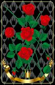 Red fresh roses with a gold banner and a gold crown on a black background