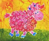 Image of my artwork with a rose ram on a yellow background