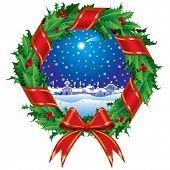 picture of christmas wreath  - Raster version of vector holly wreath with a city view  - JPG